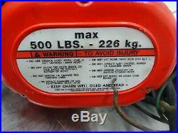 Columbus McKinnon Corporation SS1076SX Electric Chain Hoist 500lbs MAX
