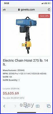 DEMAG CRANE DCM-PRO 1-125 & DSM 5-S CONTROLLER ELECTRIC CHAIN HOIST 275lbs 14FT