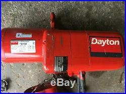 Dayton 1 Ton 1 HP Electric Chain Hoist 3 Phase Mod. 9N100B Industrial USA