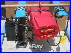 Dayton 2GXH3 2000 lb. Load 115 Volt, 10 ft. Lift 16 fpm Electric Chain Hoist
