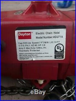 Dayton 4GU71 Dayton Electric Chain Hoist 115 Volt 500 lb. 10 foot Lift FAST SHIP