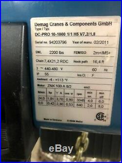 Demag 2200 lb Electric Chain Hoist DC-Pro 10-1000 1/1 H5 V7,2/1,8
