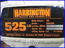 HARRINGTON ED525S-20 Electric Chain Hoist Lifter Material Lift 525lb 20ft
