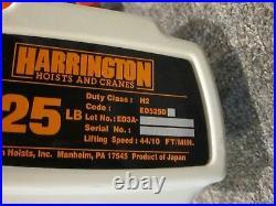 HARRINGTON Electric Chain Hoist 525 lbs. ED525DS- FREE SHIPPING