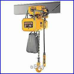 HARRINGTON Electric Chain Hoist withTrolley, 6000 lb, NERM030C-L-20, Yellow
