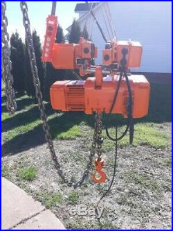 Harrington 1 1/2 Ton Electric Chain Hoist With Motorized Trolley 230/460 Volts