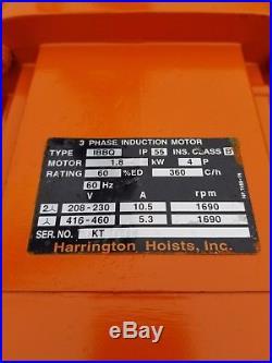 Harrington 1 Ton Electric Chain Hoist 60 Ft Lift