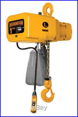 Harrington 1 Ton Electric Chain Hoist NEW 10' lift NER NER010L with Chain Cont