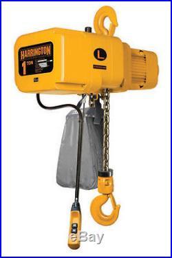 Harrington 1 Ton Electric Chain Hoist VFD 2 Speed NIB NER