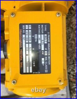 Harrington ER050L 5 Ton Electric Chain Hoist withPowered Trolley & Pendant Control