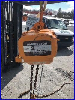 Harrington ES020SD Electric Chain Hoist 2 TON 20' Lift 460V S/N416
