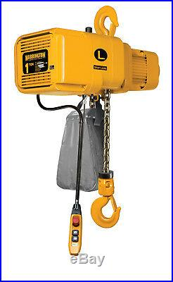 Harrington NER2010LD-10 One Ton Electric Chain Hoist, 10 ft lift