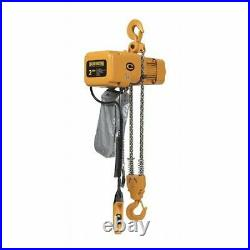 Harrington Ner020c-20 Electric Chain Hoist, 4,000 Lb, 20 Ft, Hook Mounted No