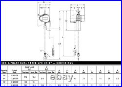 Harrington Seq Electric Chain Hoist 2000 Lb Capacity, 10 Ft Lift
