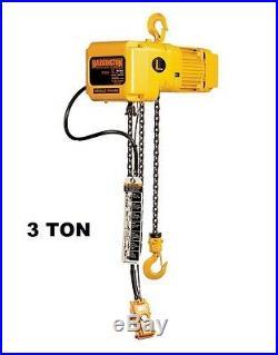 Harrington Sner Electric Chain Hoist, 3 Ton Capacity