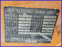 Hitachi 5 Ton Jet Electric Chain Hoist 3 Phase