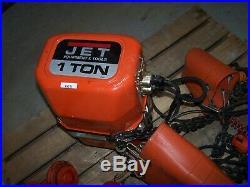 JET Electric Chain Crane Hoist, 1 Ton, Beam Trolley model 1ss-3-10