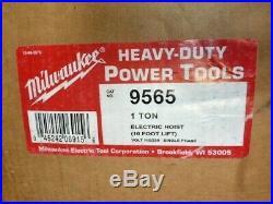 Milwaukee 9565 Professional Electric Chain Hoist 1 Ton Capacity 10ft Lift NEW