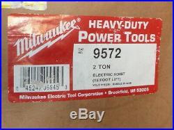 Milwaukee 9572 Professional Electric Chain Hoist 2 Ton Capacity 15ft Lift NEW