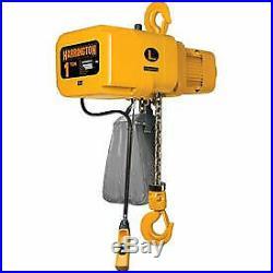 NER Electric Chain Hoist with Hook Suspension 10' Lift, 1 Ton, 14 ft/min, 460V