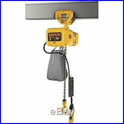NER Electric Chain Hoist with Push Trolley 15' Lift, 2 Ton, 14 ft/min, 460V