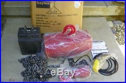 NEW 115 VOLT Dayton 2GXH8 Electric Chain Hoist 2 Ton 20ft Lift 8fpm 4000lb