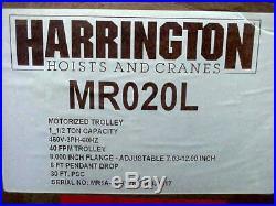 NEW Harrington 3000 Lb Electric Chain Hoist & Trolley Budgit CM Coffing NER015S