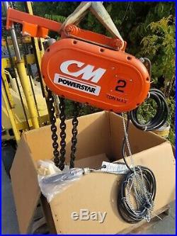 New CM COLUMBUS MCKINNON 2 TON ELECTRIC CHAIN HOIST 90' lift