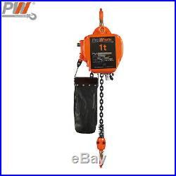 Prowinch 1 ton Electric Chain Hoist 20 ft G100 Chain H3 208230/460V Wireless