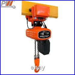 Prowinch 1000 lb Electric Chain Hoist with Power Trolley 115V 20 ft. G80 Chai