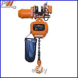 Prowinch 3 Ton Electric Chain Hoist Power Trolley 30 ft. G100 Chain M4/H3 208
