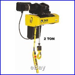 R&m Lk Electric Chain Hoist 2 Ton, 20 Ft Lift, 16/3 Fpm, Motorized Trolley