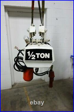 Used Coffing 1/2 Ton Electric Chain Hoist Trolley EC-1032-3 3ph 10 Ft