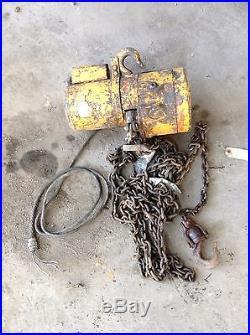 Used Wright C04211 1 Ton Electric Chain Hoist 110V 1PH 10FPM