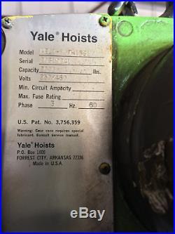 Yale Electric Chain Hoist 1 ton (2000 lbs) capacity 230/460V