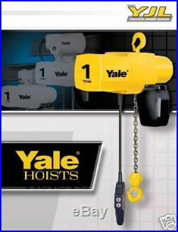 Yale YJL 1 Ton Electric Chain Hoist 15 ft Lift Single or Three Phase New